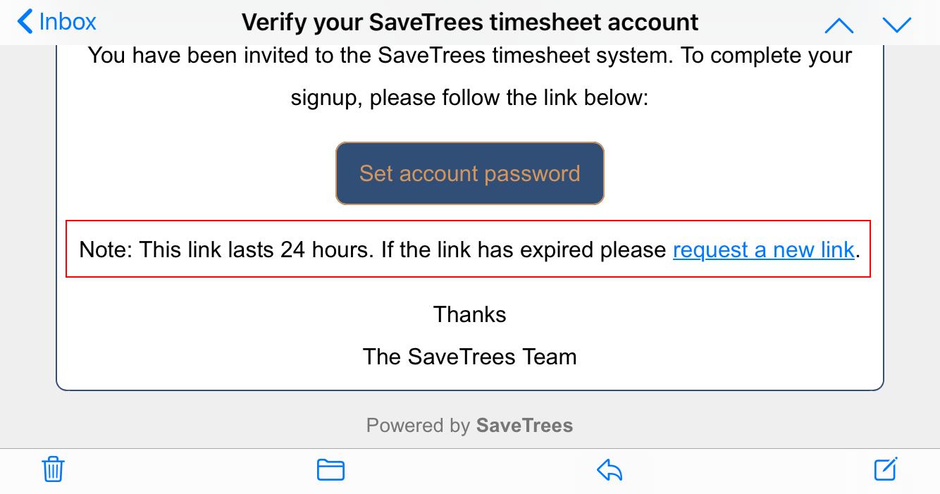 Email expiry screenshot