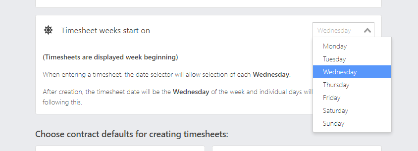 Change timesheet start days