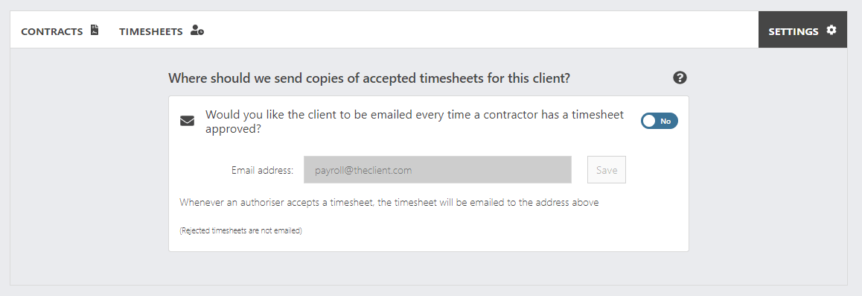 Client settings page - email client with approved timesheets
